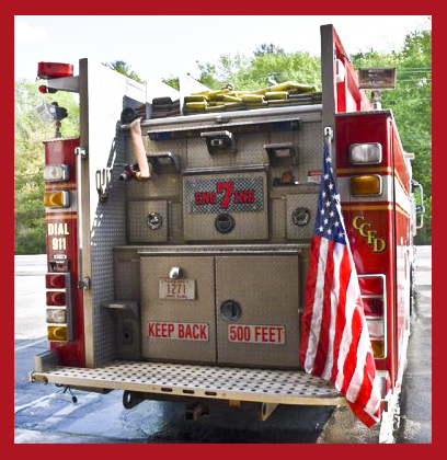 american flag on fire truck
